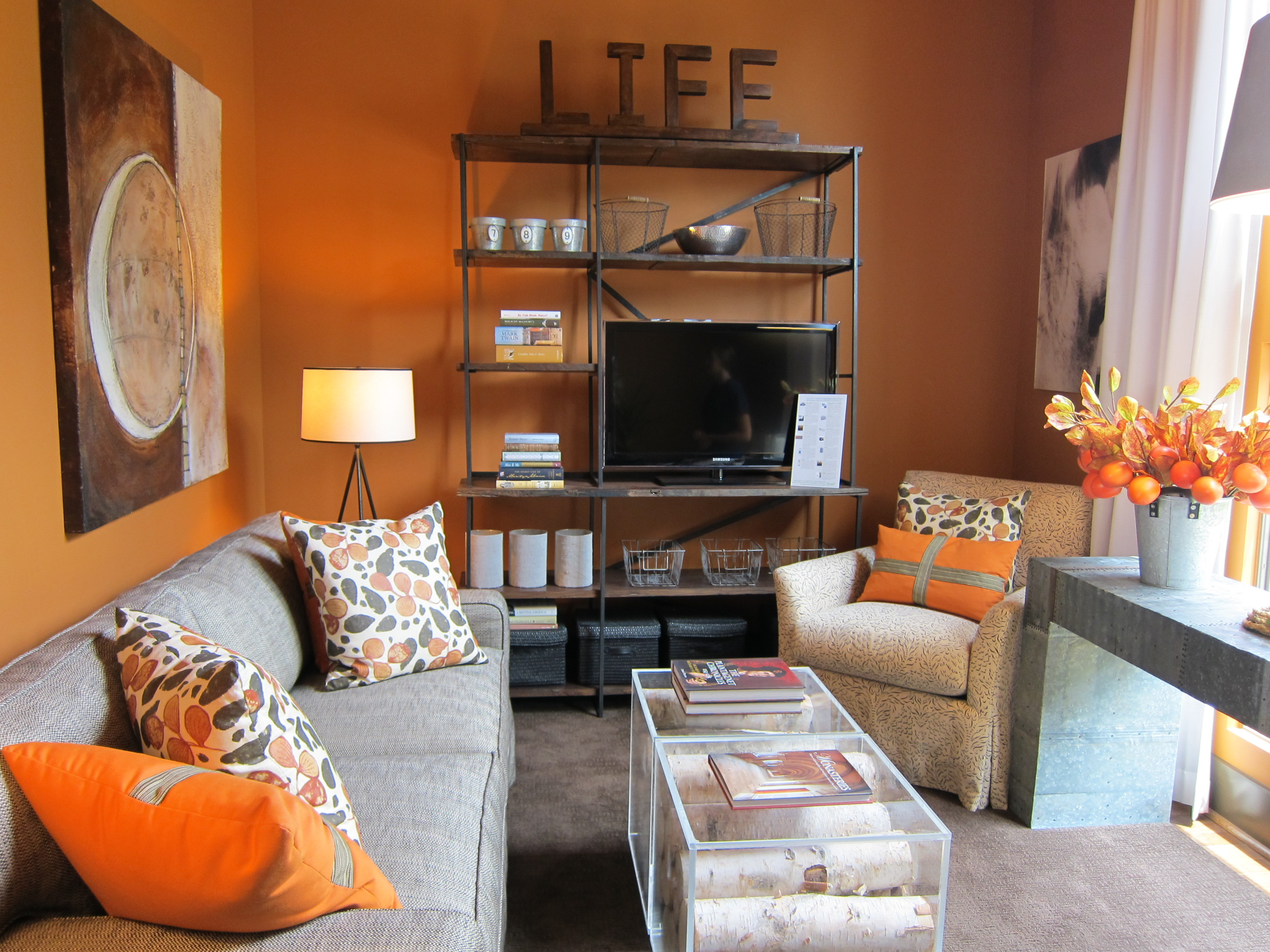 Hgtv green home in serenbe ga escape from bk - Orange walls living room ...