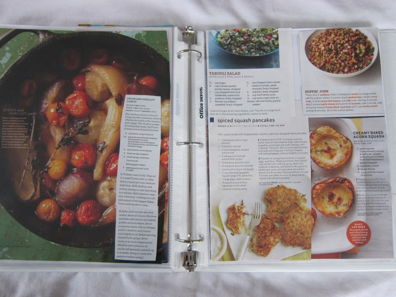recipe pages in binder